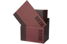 LEATHER MENU HOLDER WITH 20 A4 MENUS